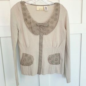 Anthro Guinevere Tan and Taupe Lace Knit Cardigan